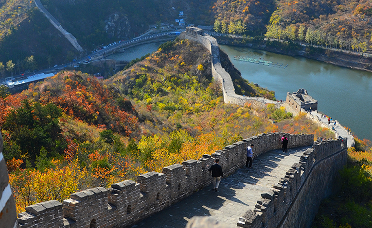Leaves changing colors along the Great Wall of China