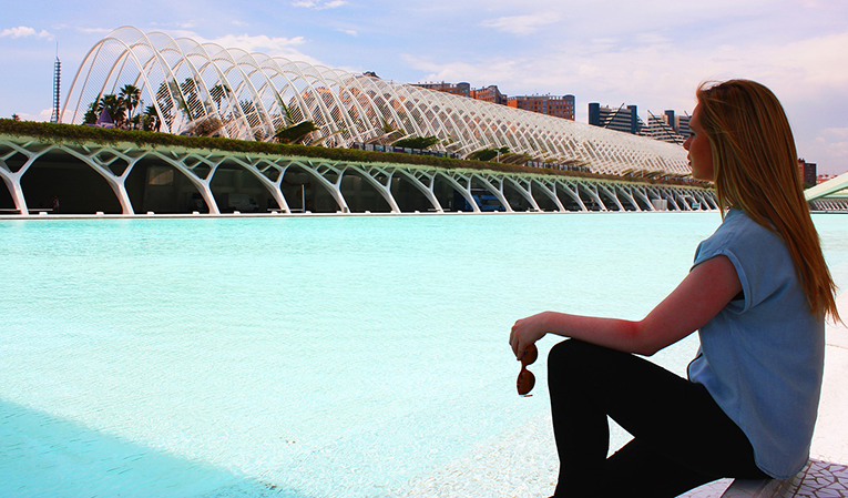 Woman in the City of Arts and Sciences in Valencia