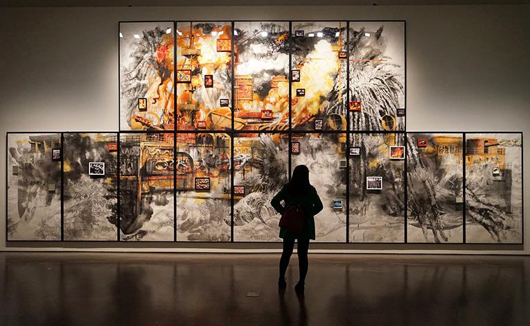 A woman inside a museum