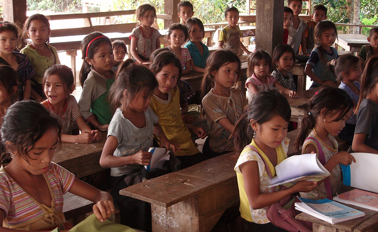 Classroom full of young girls in Laos