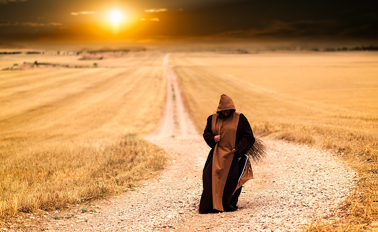 Monk in the desert