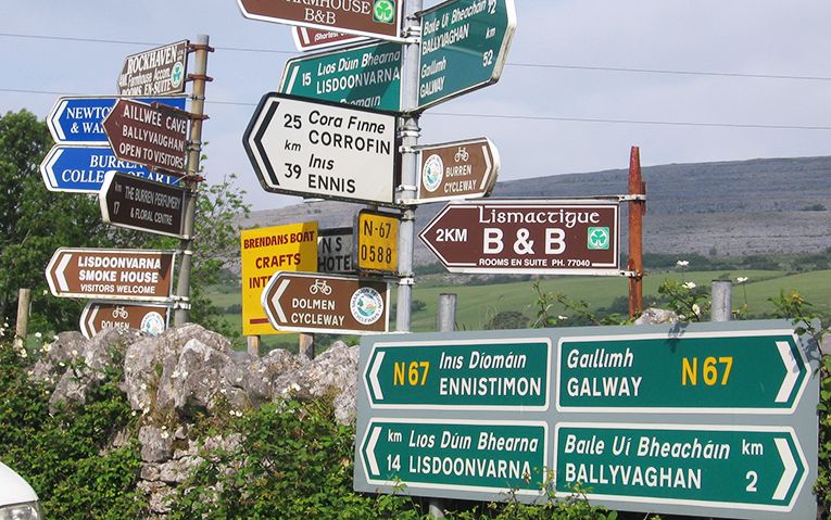 Clusters of streets signs in Ireland