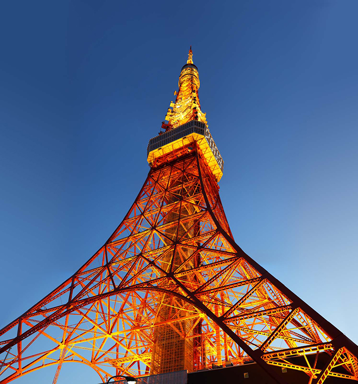 Ground view of Tokyo Tower in Japan