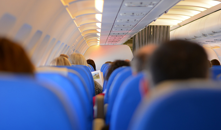 Passengers inside an airplane