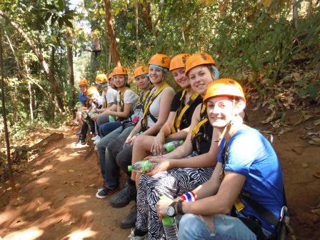 Preparing for ziplining in Chiang Mai