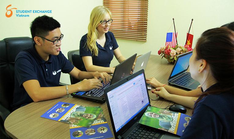 Interns working in an office in Hanoi, Vietnam