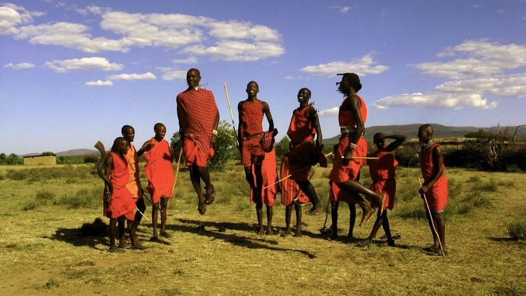Masaai men jumping in Kenya