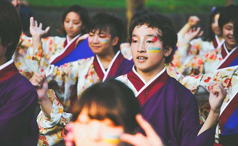 Japanese youth with paint on their faces