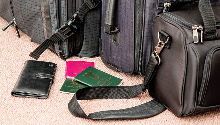 Passports and suitcases