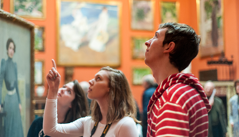 Students visiting an art museum