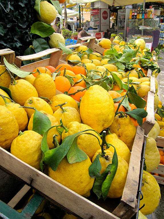 Lemons at a market in Southern Italy