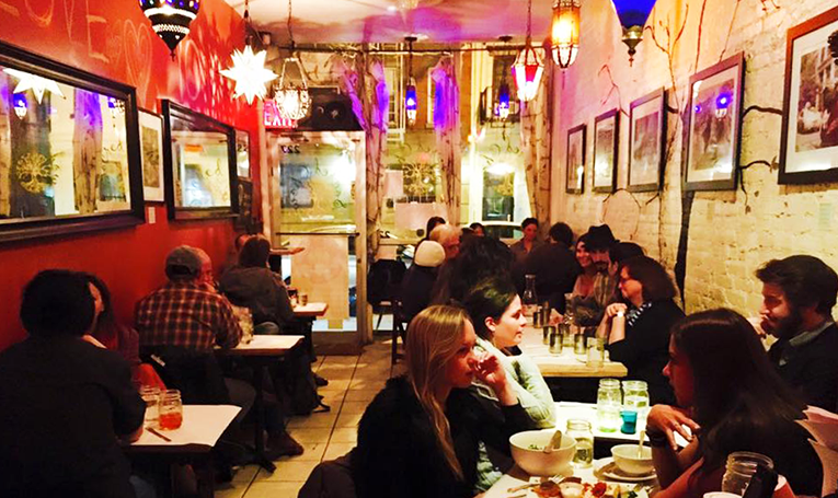 People dining in a vegan restaurant