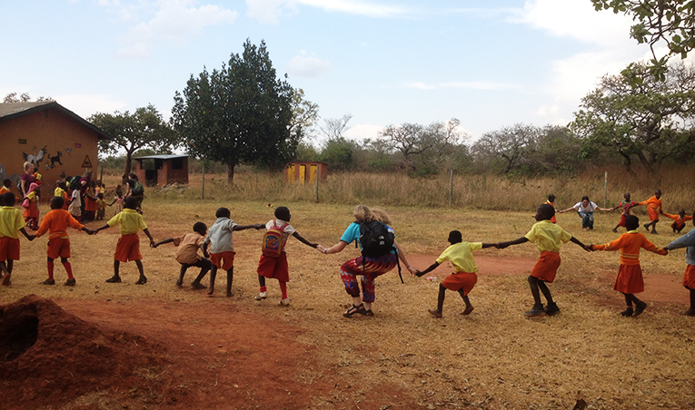 Playing with children in Africa