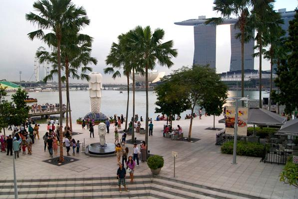 Tourists Around the Marina Bay Sands Area, Singapore