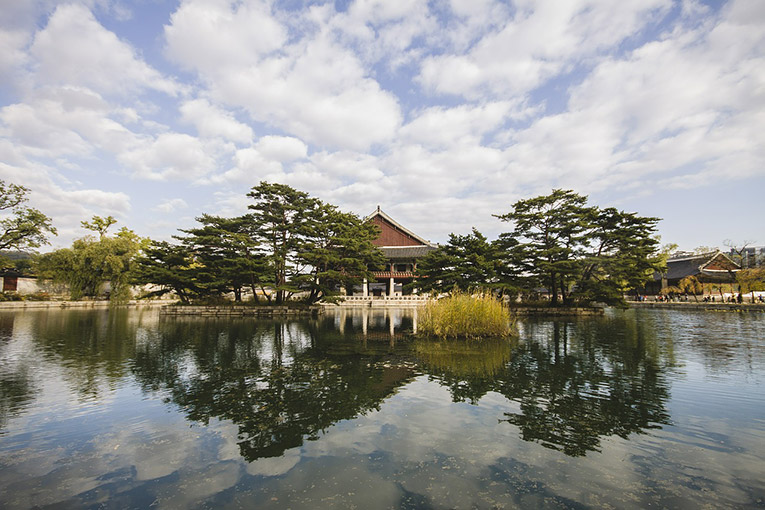 South Korean Temple in a lake