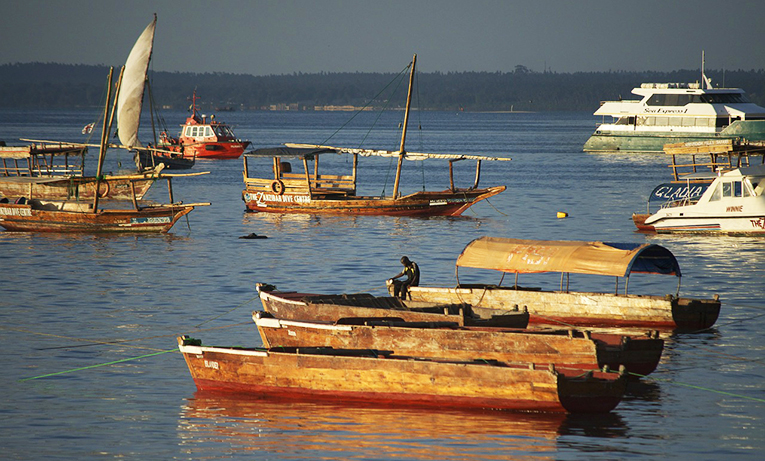 Native African fishing boats in the harbor