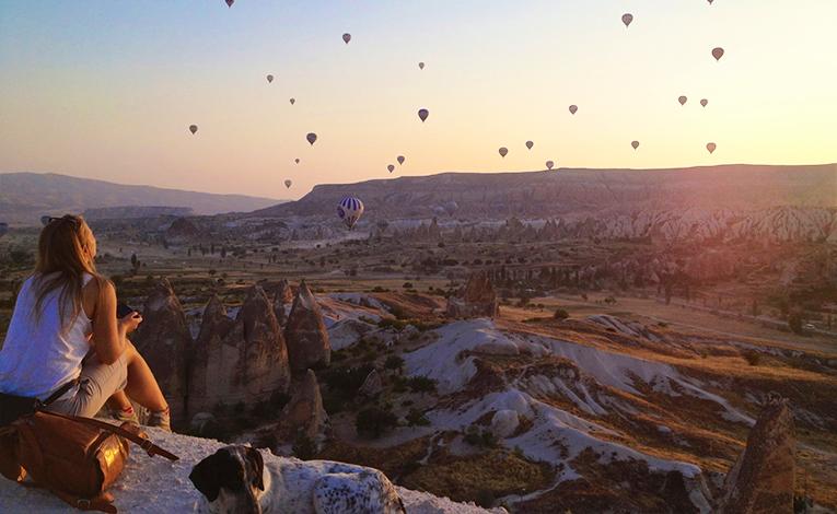 Sunrise shot of hot air balloons