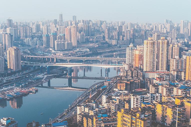 Birdseye view of Chongqing, China