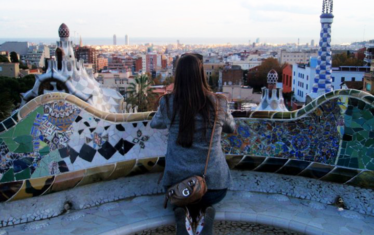 A woman in Parque Guell, Barcelona, Spain