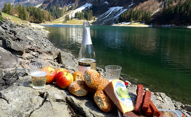 Picnic by a river in the mountains