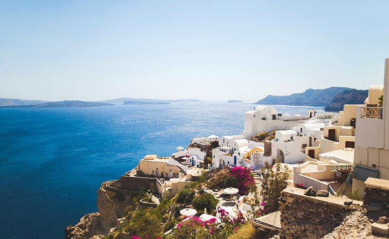 Beautiful crystal blue greecian coastline