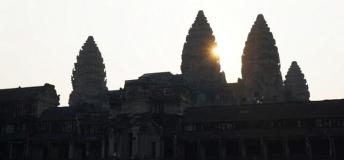 Ankor Wat at sunrise in Cambodia