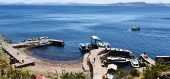 The view of the port in Taquile.