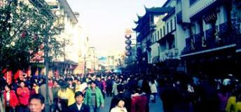 A busy market street somewhere in China