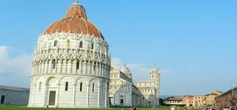 The famous leaning tower of Pisa.