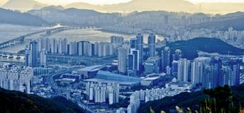 Aerial view of the Busan, South Korea waterfront and city
