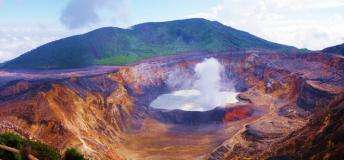 Poas volcano is an active volcano in central Costa Rica. The area is a popular spot for sightseeing.