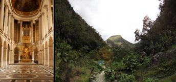 Awe-inspiring sites can be found no matter where you are in the world. Left: Chamber at Versailles Palace, France; Right: Mandor Gardens near Machu Picchu, Peru.