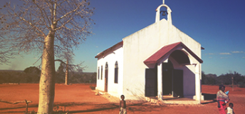 Small white church in Madagascar