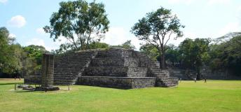 Copan ruins, an archaelogical site of the Maya civilization.