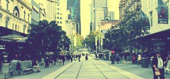 Melbourne tram line, Bourke street.