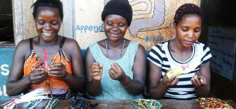 Women making handicrafts for sale in local markets