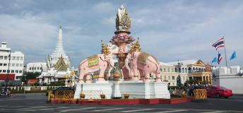 Pink elephant statue in Thailand