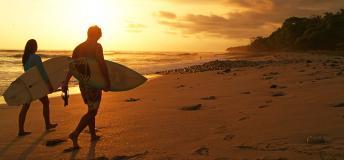 Surfers on Santa Teresa beach
