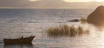 Beach at sunset in Malawi