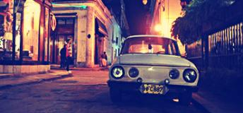 Old car on a city street in Cuba