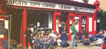 A red coffee shop in Valentia Island, Ireland.