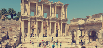 The library of Celsus in Ephesus, Turkey.