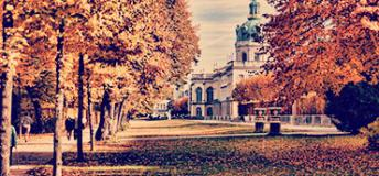 Charlottenburg Palace park in autumn.