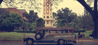 A jeepney in downtown Manila