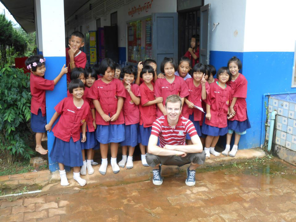 Tom with his Thai students.