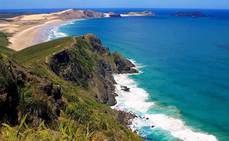 Cape Reinga, New Zealand landscape and coastline