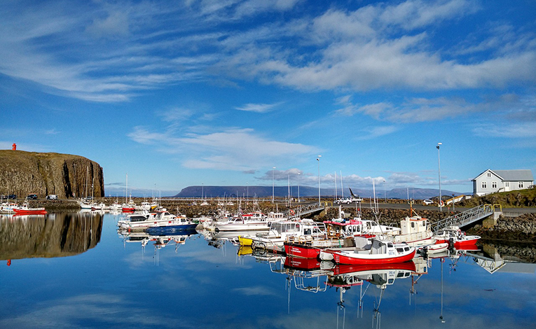 port with colorful boats in iceland