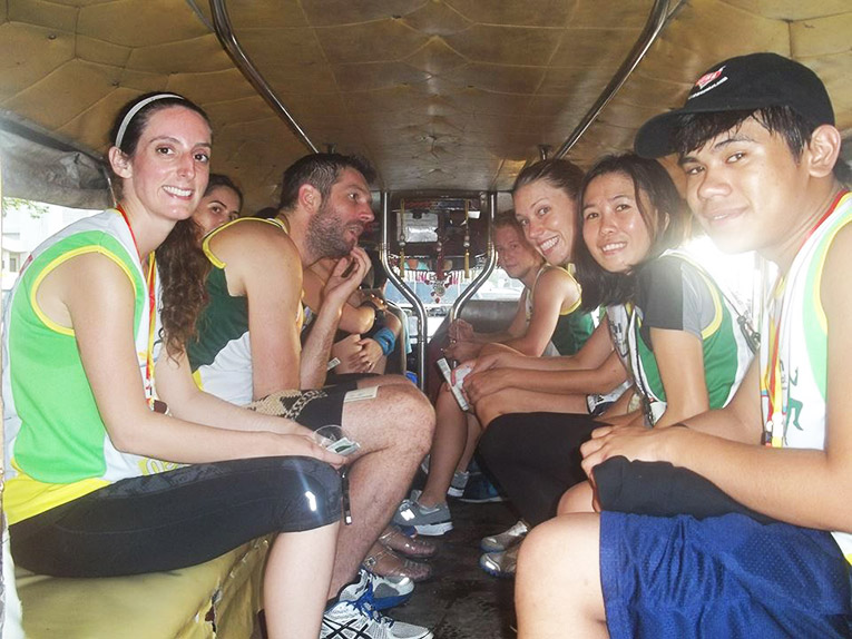 Volunteers inside a jeepney in the Philippines