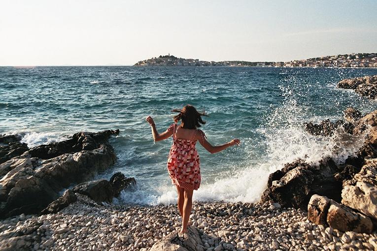 A woman on a beach